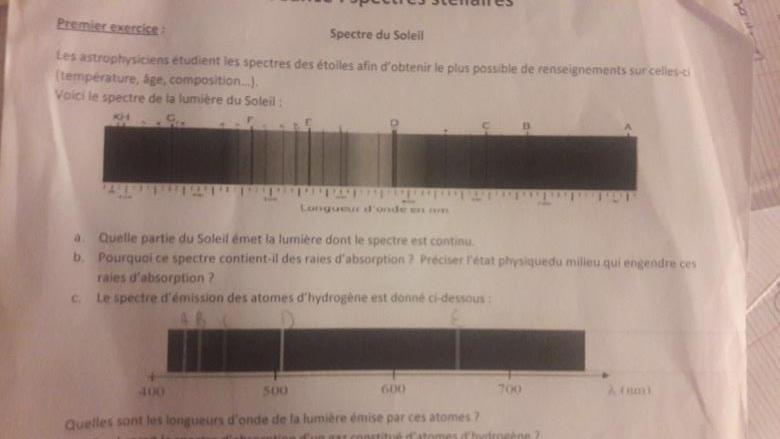 Exercice De Physique 2nde Sur Le Spectre Du Soleil Exercice De Sciences Physiques De Seconde 294093